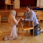 Rigoletto 2013, rehearsal in Vienna, Gilda (Maria Taytakova) and Duca (Gergely Boncsér)