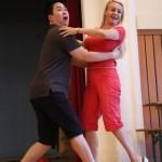 Elisir d'amore 2015, rehearsals in Vienna, Maria Taytakova (Adina) and Gunyong Na (Belcore)