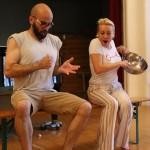 Elisir d'amore 2015, rehearsals in Vienna, Maria Taytakova (Adina) and Matthew Peña (Nemorino)